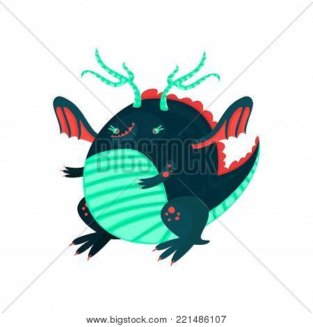 Cute cartoon little dragon character, mythical monster fantasy reptile vector Illustration on a white background
