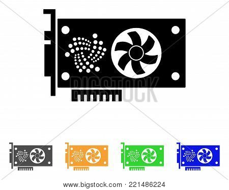 Iota Video Gpu Card icon. Vector illustration style is a flat iconic iota video gpu card black symbol with grey, yellow, green, blue color versions. Designed for web and software interfaces.