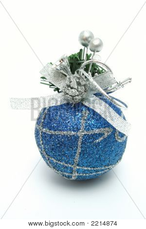 Christmas Sphere Of Dark Blue Color With A Pattern