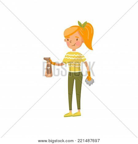 Young woman in casual clothing wiping off dust with a spray and a rag, housewife in housework activity cartoon vector Illustration on a white background