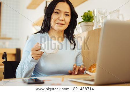 Businesswoman. Attractive alert dark-haired crippled woman sitting in a wheelchair and holding a cup of coffee and working on her laptop in a cafe
