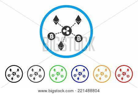 Cryptocurrency Relations rounded icon. Style is a flat grey symbol inside light blue circle with bonus colored variants. Cryptocurrency Relations vector designed for web and software interfaces.