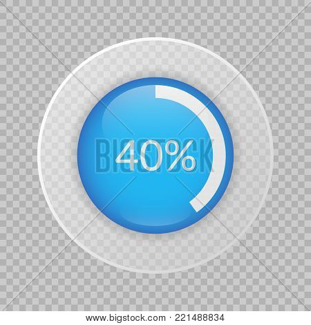 40 percent pie chart on transparent background. Percentage vector infographics. Circle diagram isolated. Business illustration icon for marketing project, finance, financial report, web design