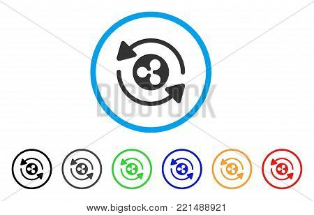 Refresh Ripple rounded icon. Style is a flat gray symbol inside light blue circle with additional color versions. Refresh Ripple vector designed for web and software interfaces.