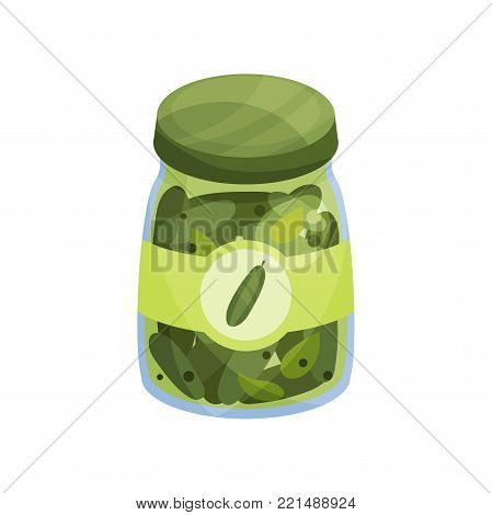 Glass jar with pickled cucmbers, canned vegetables cartoon vector Illustration on a white background