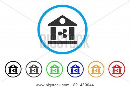 Ripple Bank Building rounded icon. Style is a flat grey symbol inside light blue circle with additional colored versions. Ripple Bank Building vector designed for web and software interfaces.