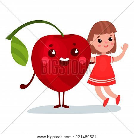 Cute little girl having fun with smiling giant cherry character, best friends, healthy food for kids cartoon vector Illustration on a white background