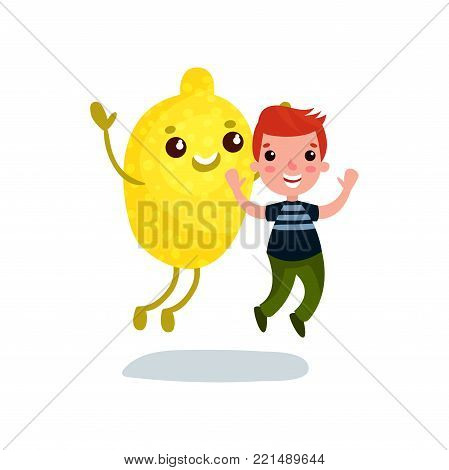 Cute little boy having fun with giant lemon fruit character, best friends, healthy food for kids cartoon vector Illustration on a white background