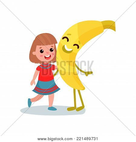 Happy little girl hugging giant smiling banana fruit character, best friends, healthy food for kids cartoon vector Illustration on a white background