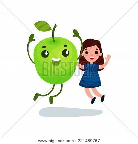 Cute little girl having fun with giant green apple character, best friends, healthy food for kids cartoon vector Illustration on a white background