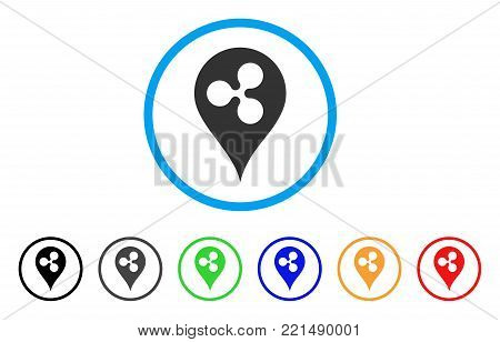 Ripple Map Marker rounded icon. Style is a flat grey symbol inside light blue circle with bonus colored variants. Ripple Map Marker vector designed for web and software interfaces.