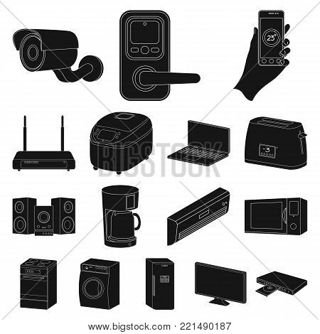Smart home appliances black icons in set collection for design. Modern household appliances vector symbol stock illustration.