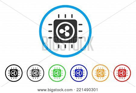 Ripple Processor Chip rounded icon. Style is a flat gray symbol inside light blue circle with additional color versions. Ripple Processor Chip vector designed for web and software interfaces.