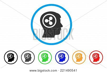 Ripple Think rounded icon. Style is a flat gray symbol inside light blue circle with bonus color versions. Ripple Think vector designed for web and software interfaces.
