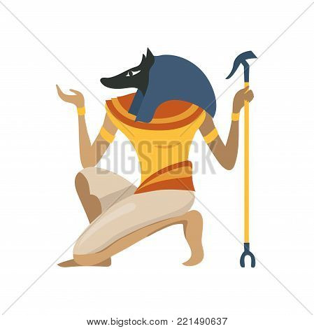 Anubis, an ancient Egyptian god, symbol of traditional Egyptian culture cartoon vector Illustration on a white background