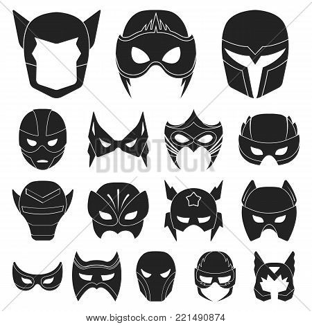 Carnival mask black icons in set collection for design.Mask on the eyes and face vector symbol stock  illustration.