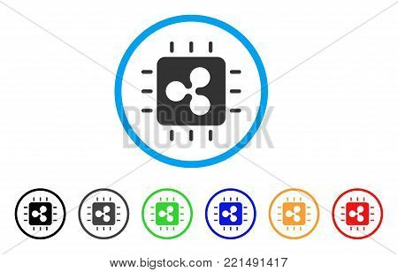 Ripple Processor Chip rounded icon. Style is a flat gray symbol inside light blue circle with additional colored variants. Ripple Processor Chip vector designed for web and software interfaces.