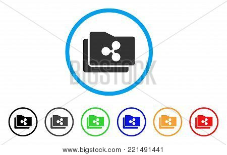 Ripple Purse rounded icon. Style is a flat grey symbol inside light blue circle with bonus color versions. Ripple Purse vector designed for web and software interfaces.