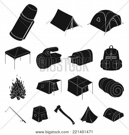 Different kinds of tents black icons in set collection for design. Temporary shelter and housing vector symbol stock  illustration.
