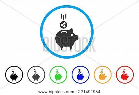 Ripple Piggy Bank rounded icon. Style is a flat gray symbol inside light blue circle with additional color variants. Ripple Piggy Bank vector designed for web and software interfaces.