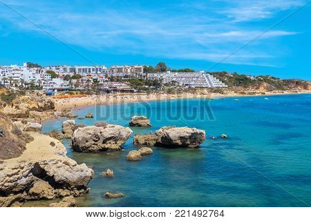 Ocean coast and Oura beach (Praia da Oura). Albufeira, Algarve, Portugal