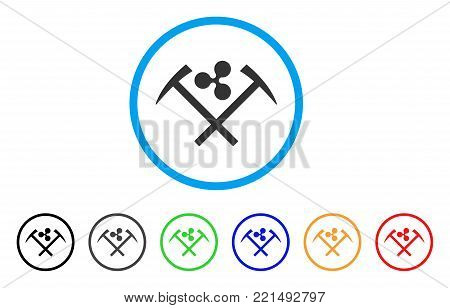 Ripple Mining Hammers rounded icon. Style is a flat grey symbol inside light blue circle with bonus colored versions. Ripple Mining Hammers vector designed for web and software interfaces.