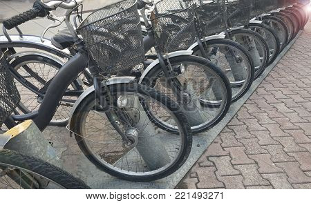 rental bicycle service on the street & bicycle concept