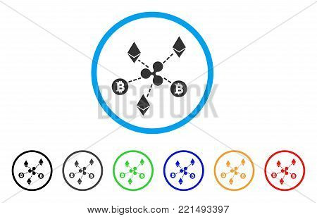 Cryptocurrency Relations rounded icon. Style is a flat gray symbol inside light blue circle with additional colored versions. Cryptocurrency Relations vector designed for web and software interfaces.