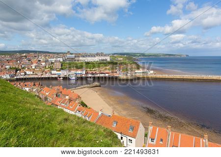 Whitby North Yorkshire England uk seaside town and coast view
