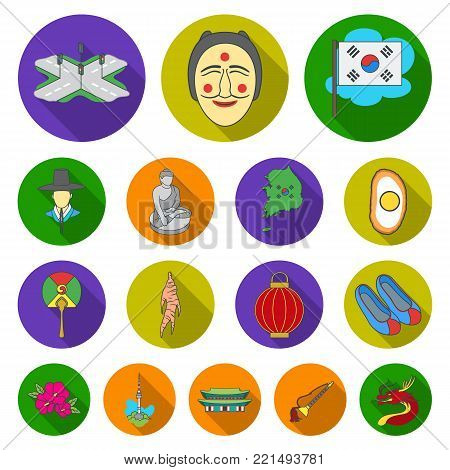 Country South Korea flat icons in set collection for design.Travel and attraction vector symbol stock  illustration.
