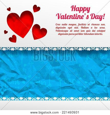 Amorous greeting template with text red hearts gray background and blue icons crumpled paper pattern vector illustration