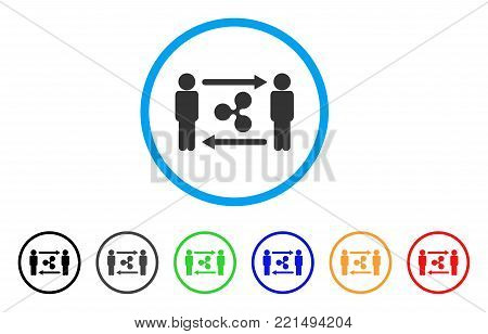 People Exchange Ripple rounded icon. Style is a flat grey symbol inside light blue circle with bonus colored variants. People Exchange Ripple vector designed for web and software interfaces.