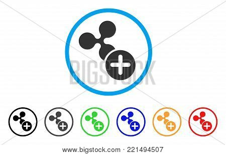 Ripple Add rounded icon. Style is a flat grey symbol inside light blue circle with additional colored versions. Ripple Add vector designed for web and software interfaces.