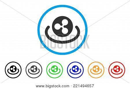 Ripple Area rounded icon. Style is a flat gray symbol inside light blue circle with additional colored versions. Ripple Area vector designed for web and software interfaces.