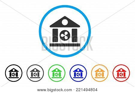 Ripple Bank Building rounded icon. Style is a flat grey symbol inside light blue circle with additional color variants. Ripple Bank Building vector designed for web and software interfaces.