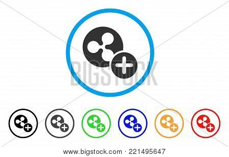 Ripple Coin Add rounded icon. Style is a flat gray symbol inside light blue circle with bonus colored variants. Ripple Coin Add vector designed for web and software interfaces.