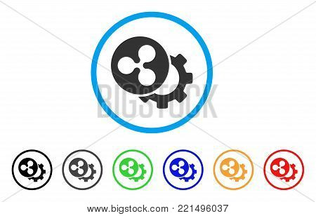 Ripple Configuration Gear rounded icon. Style is a flat grey symbol inside light blue circle with additional color versions. Ripple Configuration Gear vector designed for web and software interfaces.