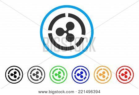 Ripple Diagram rounded icon. Style is a flat gray symbol inside light blue circle with additional colored versions. Ripple Diagram vector designed for web and software interfaces.
