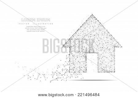 Home symbol. Polygonal wireframe mesh icon with crumbled edge isolated on white with dots. Dream house, home page or other concept illustration or background