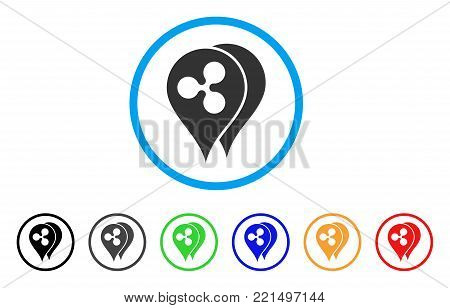 Ripple Map Markers rounded icon. Style is a flat gray symbol inside light blue circle with additional colored versions. Ripple Map Markers vector designed for web and software interfaces.