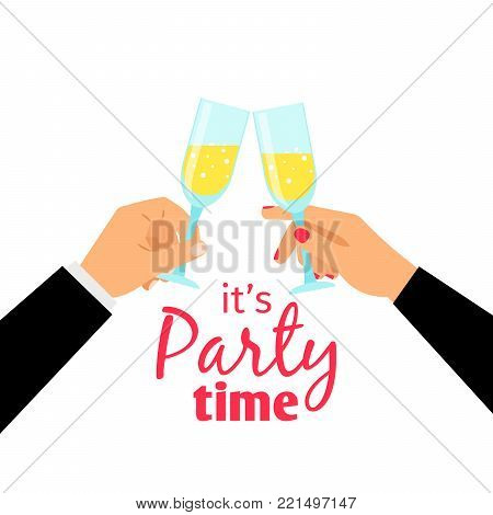 Hand holding champagne glass, success concept, vector illustration