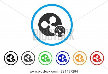 Ripple Meter rounded icon. Style is a flat gray symbol inside light blue circle with bonus colored versions. Ripple Meter vector designed for web and software interfaces.