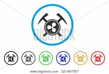 Ripple Mining Hammers rounded icon. Style is a flat gray symbol inside light blue circle with additional colored variants. Ripple Mining Hammers vector designed for web and software interfaces.