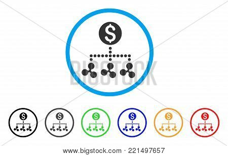 Ripple Money Relations rounded icon. Style is a flat grey symbol inside light blue circle with bonus colored variants. Ripple Money Relations vector designed for web and software interfaces.