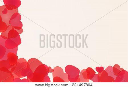 Corner edging illustration with red hearts for design