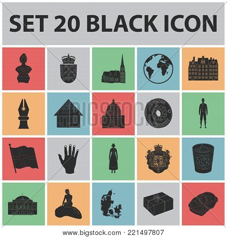 Country Denmark black icons in set collection for design. Travel and attractions Denmark vector symbol stock illustration.