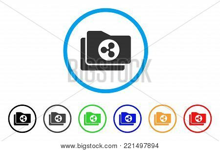 Ripple Purse rounded icon. Style is a flat gray symbol inside light blue circle with additional colored versions. Ripple Purse vector designed for web and software interfaces.