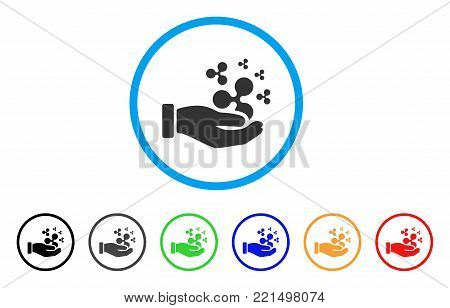 Ripple Salary Hand rounded icon. Style is a flat grey symbol inside light blue circle with bonus color variants. Ripple Salary Hand vector designed for web and software interfaces. poster