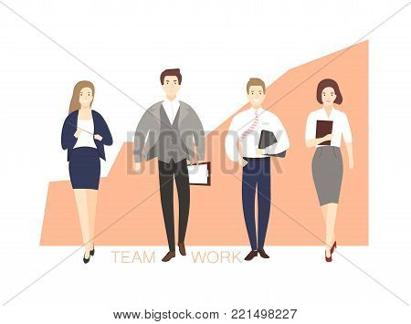 Male and female office workers walking against ascending graph on background. Men and women dressed in smart clothing and chart. Concept of successful teamwork. Flat cartoon vector illustration