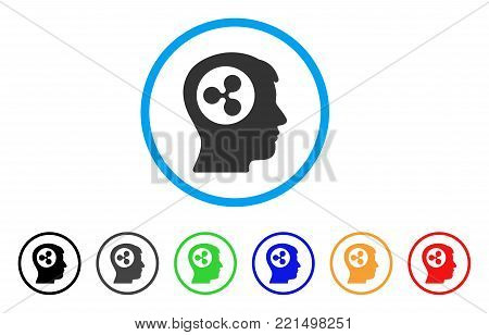 Ripple Think rounded icon. Style is a flat grey symbol inside light blue circle with additional color variants. Ripple Think vector designed for web and software interfaces.